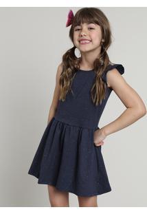 Vestido Infantil Com Glitter E Babado Sem Manga Azul Marinho