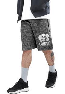 Bermuda Dri-Fit Chess Clothing Caveira Cinza