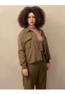 Jaqueta Alfaiataria Camila Plus Size Verde Escuro-