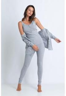 Conjunto De Pijama Acuo Com Cardigan Feminino - Feminino
