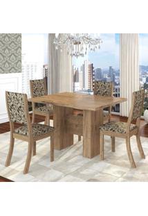 Conjunto Sala De Jantar Mesa Kaly E 4 Cadeiras Kiara Twist Espresso Móveis Fendi/Medina