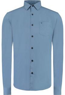 Camisa Vr Lisa Tinturada Ml Azul