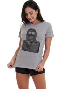 Camiseta Basica Joss Macaco Aviador Cinza Mescla Dtg