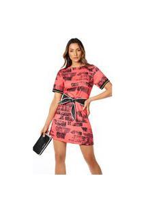 T-Shirt Morena Rosa Dress Com Retilínea Vermelho