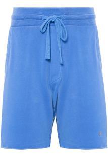 Bermuda Masculina Moletom Washed - Azul