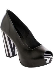 Sapato Peep Toe Preto E Listrado