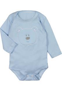 Body Para Bebê Suedine Bordado Manga Longa Azul Claro Azul Claro