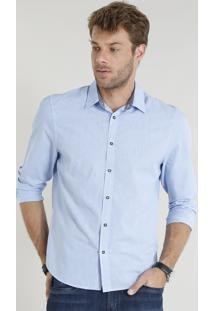 Camisa Masculina Comfort Manga Longa Azul Claro
