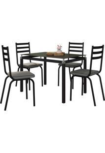 Conjunto De Mesa Malva C/ 4 Cadeiras Preto E Platina Fabone