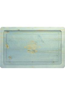 Tábua Retangular Vintage Madeira E Vidro 26X41 Cm Azul Claro Bisetti
