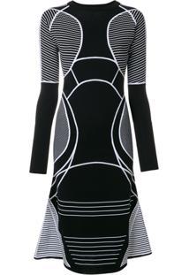 Versace Vestido Evasê Com Recortes - Preto