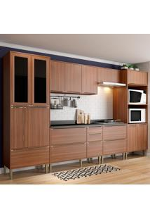 Cozinha Compacta Calábria 14 Portas Com Tampo E Pés Nogueira - Multimóveis