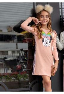 Vestido Manga Longa Infantil Rosa