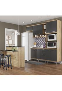 Cozinha Compacta Sicília 11 Portas 3 Gavetas Premium Argila/Grafite - Multimóveis