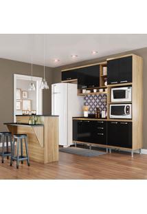 Cozinha Compacta Sicília Com Tampo 11 Portas 3 Gavetas Argila/Preto - Multimóveis