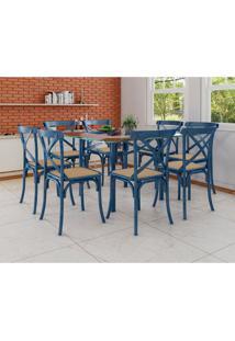 Conjunto De Mesa De Jantar Com 8 Cadeiras E Tampo De Vidro Katrina Azul