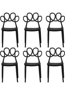 Kit 06 Cadeiras Decorativas Para Cozinha Laço Preto - Gran Belo