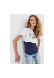 Camiseta Morena Rosa Sobreposição Lettering Branca/Azul-Marinho