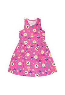 Vestido Infantil Regata Rosa Flores (12/14) - Brandili - Tamanho 14 - Rosa