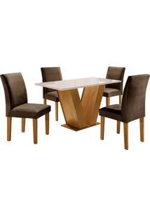 Conjunto De Mesa De Jantar Com 4 Cadeiras Classic L Suede Off White E Marrom