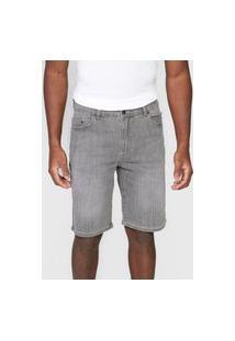 Bermuda Jeans Lacoste Reta Estonada Cinza