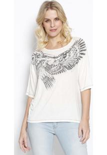 """Camiseta """"Coruja"""" Com Linho - Off White & Preta - Sosommer"""