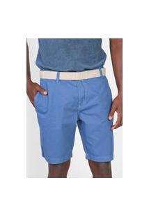 Bermuda Sarja Calvin Klein Jeans Chino Lisa Azul