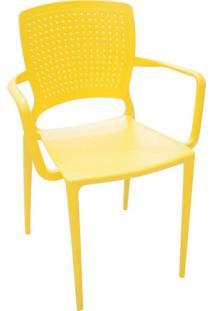 Cadeira Safira Com Braço Amarelo