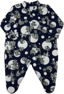 Macacão Bebê Ano Zero Pijama Estampado Masculino - Masculino-Marinho