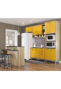 Cozinha Completa Com Bancada E Balcão Sem Tampo 5 Peças 7 Prateleiras Sicília Multimóveis Argila/Amarelo