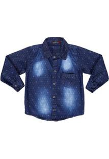 Camisa Jeans Manga Longa Infantil Dudy'S Masculina - Masculino-Azul