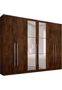 Guarda-Roupa Casal Com Espelho Bari 6 Pt 8 Gv Canela