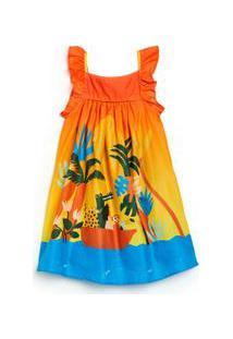 Vestido Rodado Infantil Fábula Em Algodão Com Forro E Estampa Turma Dia Est Turma Dia Colorido - 2