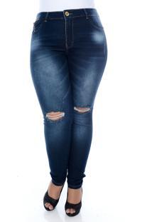 Calça Xtra Charmy Jeans Plus Size La Donna Azul