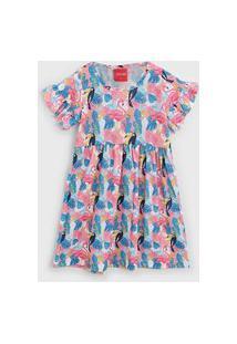 Vestido Tricae Infantil Flamingo Rosa/Azul