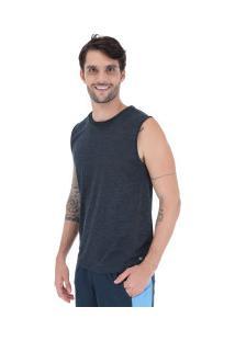 Camiseta Regata Oxer Textura Sublimada - Masculina - Azul Esc Mescla