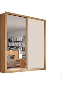 Guarda-Roupa Madri - 2 Portas - Com Espelho - 100% Mdf - Amêndoa Com Offwhite