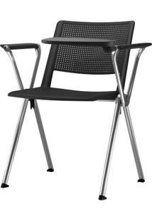 Cadeira Up Com Bracos E Prancheta Assento Preto Base Fixa Cromada - 54337 Sun House