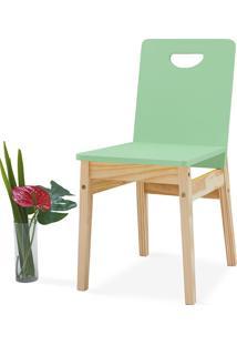 Cadeira De Madeira Tucupi 40X51X81Cm - Acabamento Stain Natural E Verde Sálvia