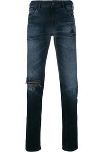 Just Cavalli Calça Jeans Destroyed - Azul