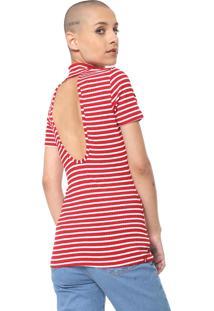 Camiseta Coca-Cola Jeans Canelada Listrada Vermelha/Branca