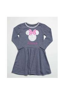 Vestido Infantil Listrado Estampa Minnie Manga Longa Disney