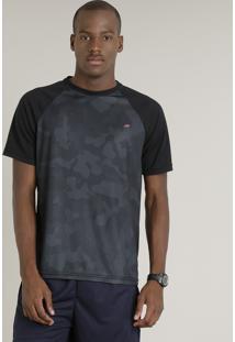 801093f09e Camiseta Masculina Raglan Esportiva Com Estampa Camuflada Ace Manga Curta  Gola Redonda Preta