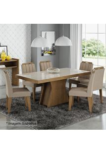 Conjunto De Mesa Olívia Com 6 Cadeiras Elisa- Savana & Ccimol