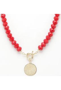 Colar Com Pedraria & Medalha Com Inscrições Folheado A Ouro