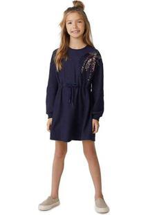 Vestido Infantil Menina Com Bordado De Paetê Azul