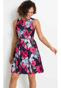 Vestido Com Pregas Floral Vermelho