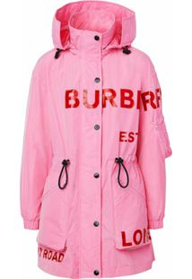 Burberry Parka Com Estampa Horseferry - Rosa