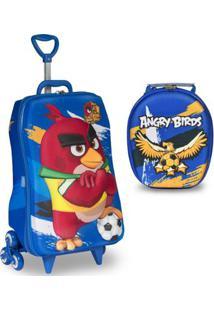 22694c0ab Mochila Escolar 3D Com Rodinhas E Lancheira Maxtoy Angry Birds Futebol -  Unissex-Azul Escuro