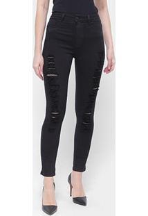 Calça Jeans Sawary Legging Rasgada Super Lipo Cinta Feminina - Feminino-Preto